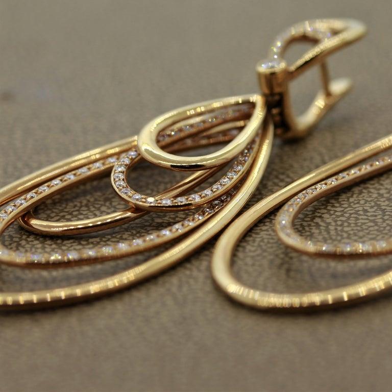Diamond Dangle Gold Earrings For Sale 2