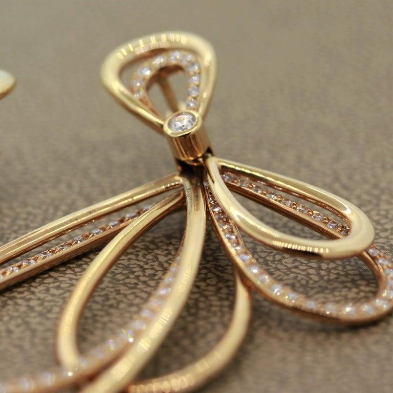 Diamond Dangle Gold Earrings For Sale 3