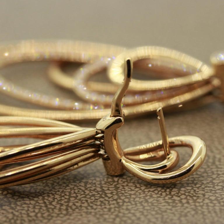 Diamond Dangle Gold Earrings For Sale 4