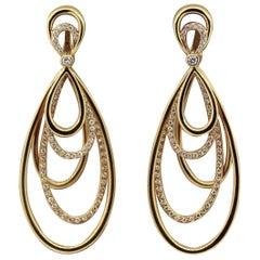 Diamond Dangle Gold Earrings