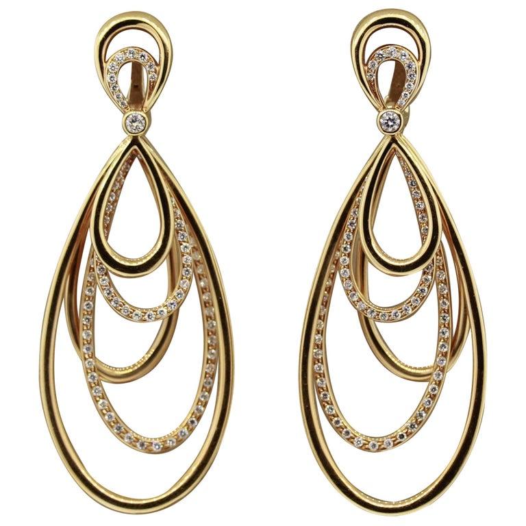 Diamond Dangle Gold Earrings For Sale