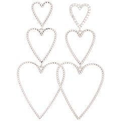 Diamond Dangle Heart 14 Karat White Gold Earrings