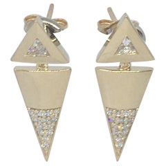 Diamond Dangle Trillion Arrow Themed Earrings in 14 Karat Yellow Gold