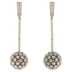 Diamond Dangling Ball and Pyramid Disco Ball Earrings