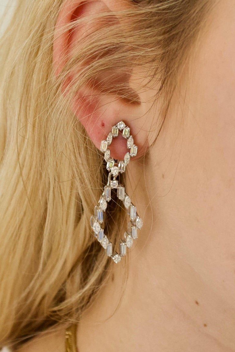 Modern Diamond Dangling Convertible Earrings in 18 Karat 6.10 Carat For Sale