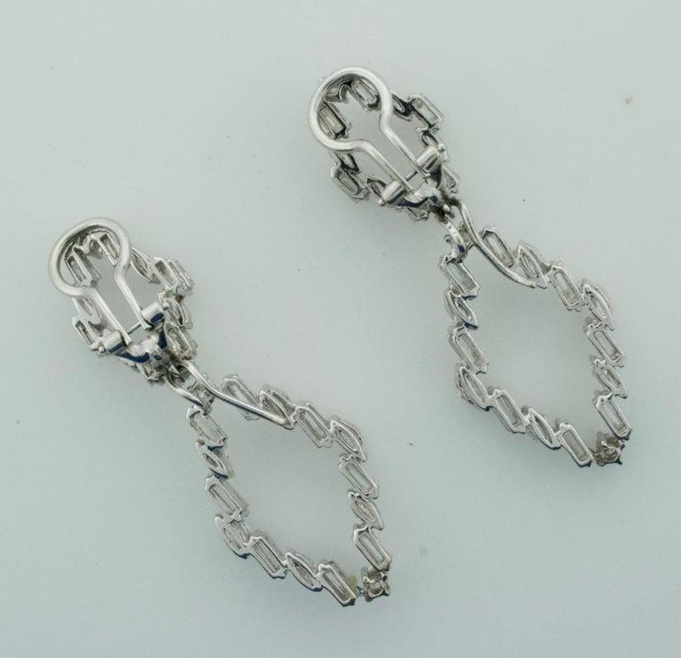 Baguette Cut Diamond Dangling Convertible Earrings in 18 Karat 6.10 Carat For Sale
