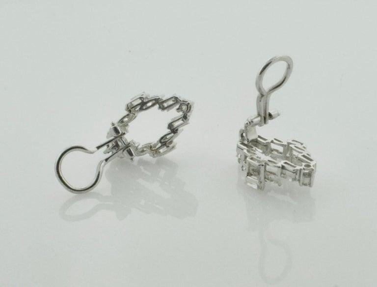 Women's or Men's Diamond Dangling Convertible Earrings in 18 Karat 6.10 Carat For Sale