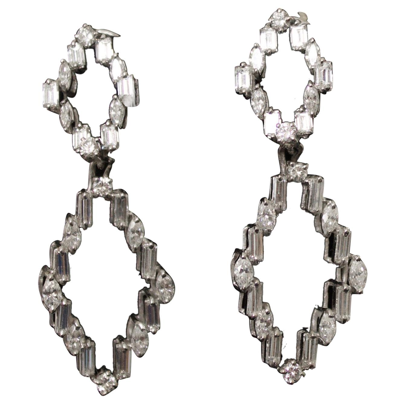 Diamond Dangling Convertible Earrings in 18 Karat 6.10 Carat
