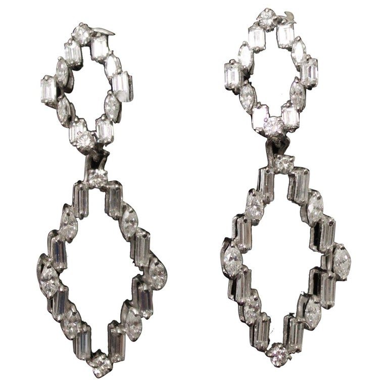 Diamond Dangling Convertible Earrings in 18 Karat 6.10 Carat For Sale