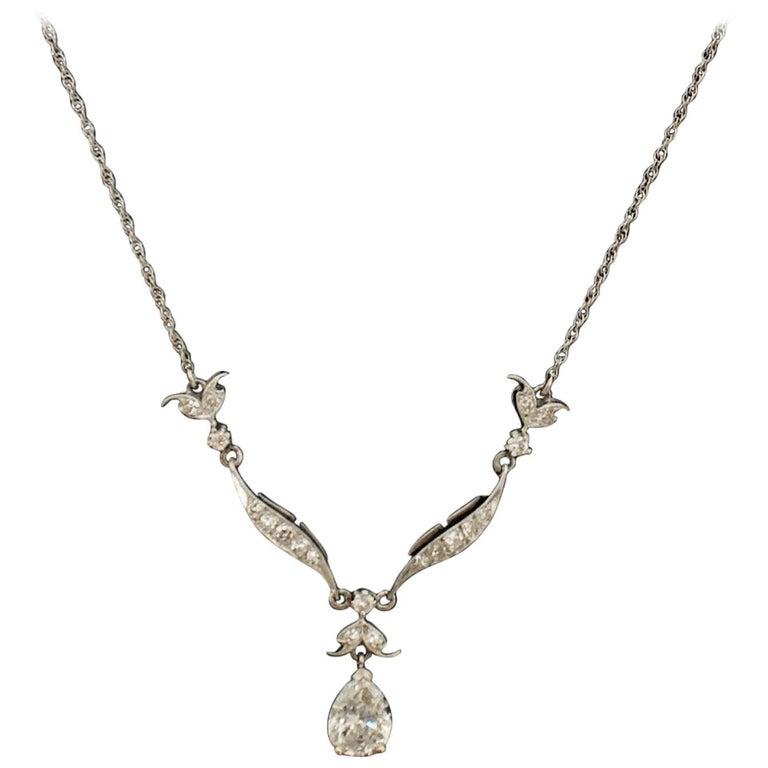 Diamond Dangling Diamond Pear Shape Necklace in Platinum on 14 Karat Chain For Sale