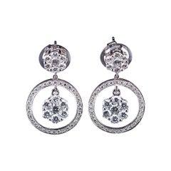 Diamond Dangling Earrings 18 Karat White Gold