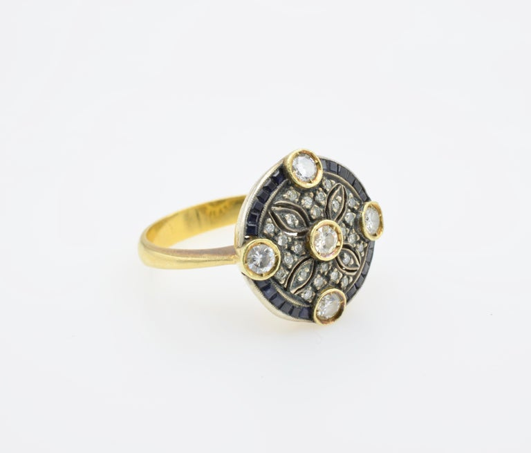 Medieval Diamond Sapphire Engagement Ring Rosace Filigree Gold For Sale