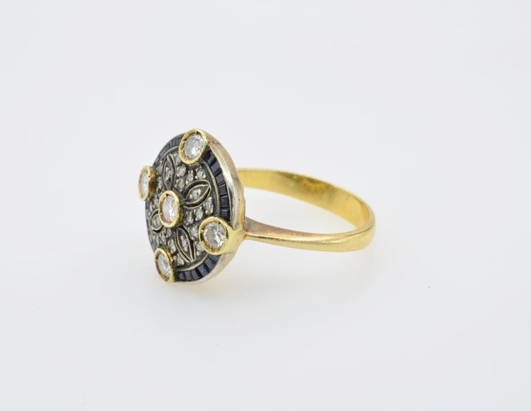 Diamond Sapphire Engagement Ring Rosace Filigree Gold For Sale 2