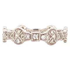 Diamond Deco Style Filigree Eternity Platinum Band Ring