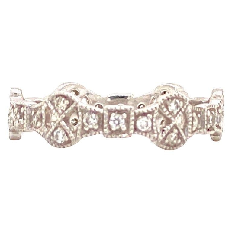 Diamond Deco Style Filigree Eternity Platinum Band Ring For Sale