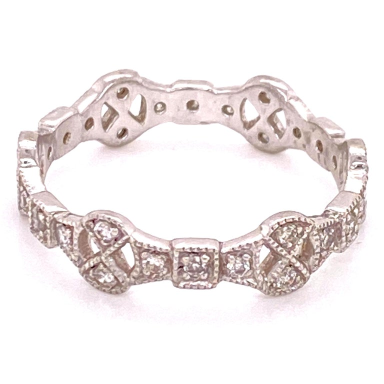 Modern Diamond Deco Style Filigree Eternity Platinum Band Ring For Sale