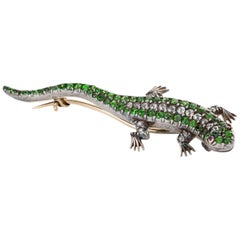 Diamond Demantoid Garnet and Ruby Salamander Brooch Pin