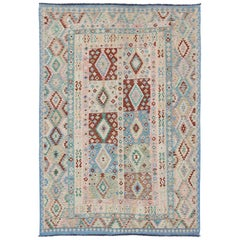 Afghan Flat Weave Kilim Rug in Blue, Green, Cream & Pink with Diamond Design