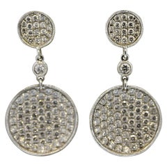 Diamond Disc Gold Drop Earrings