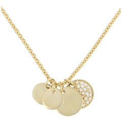 Diamond Discs Pendant Necklace, 18 Karat Gold Engravable Round Cut .29 Carat