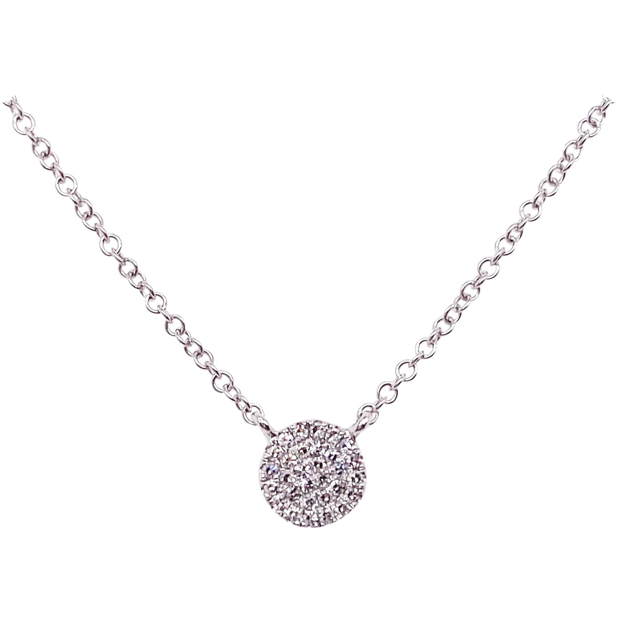 Diamond Disk Necklace, 14 Karat White Gold, Round Pavé Diamond Disk Pendant