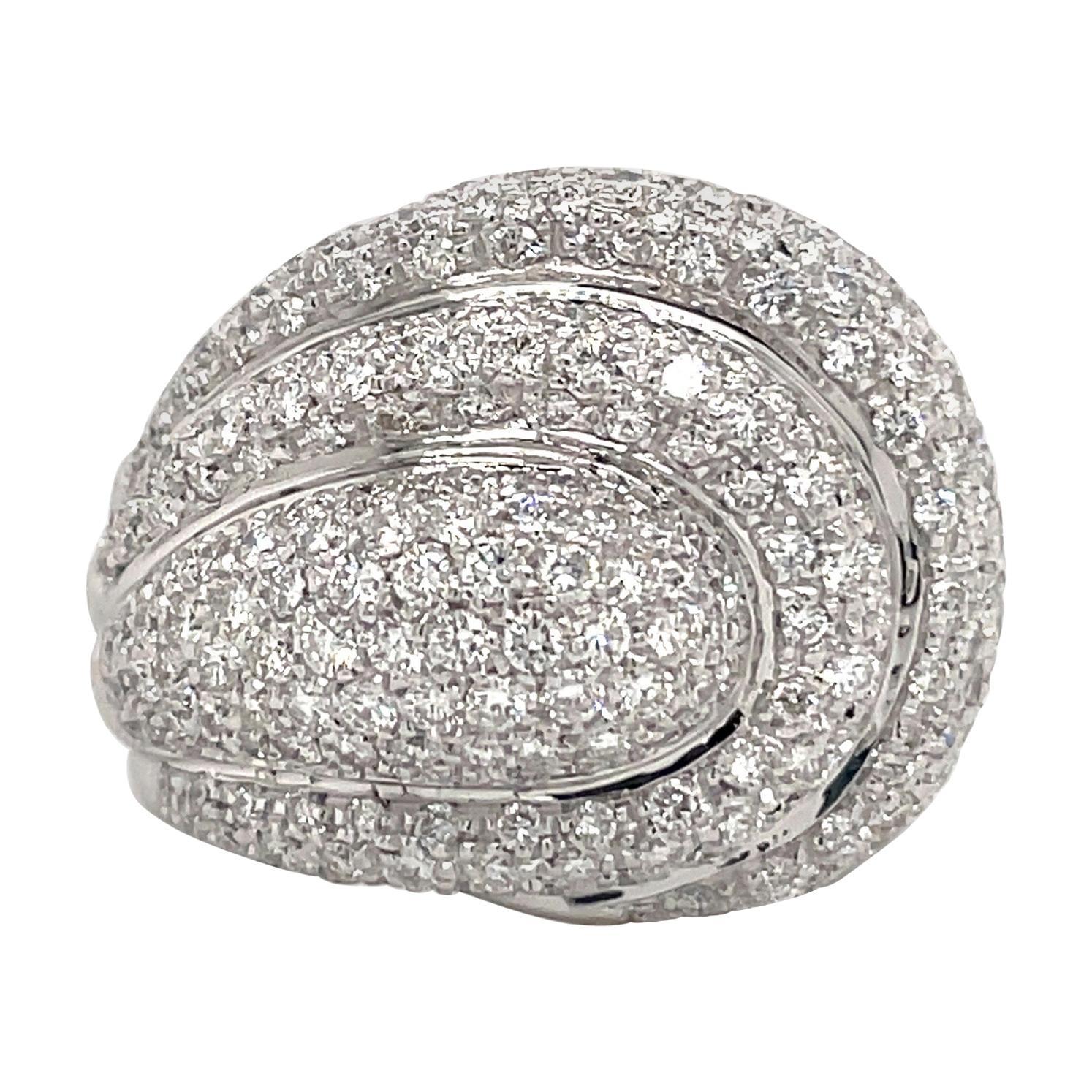 Diamond Dome Cocktail Ring 4 Carat 18 Karat White Gold