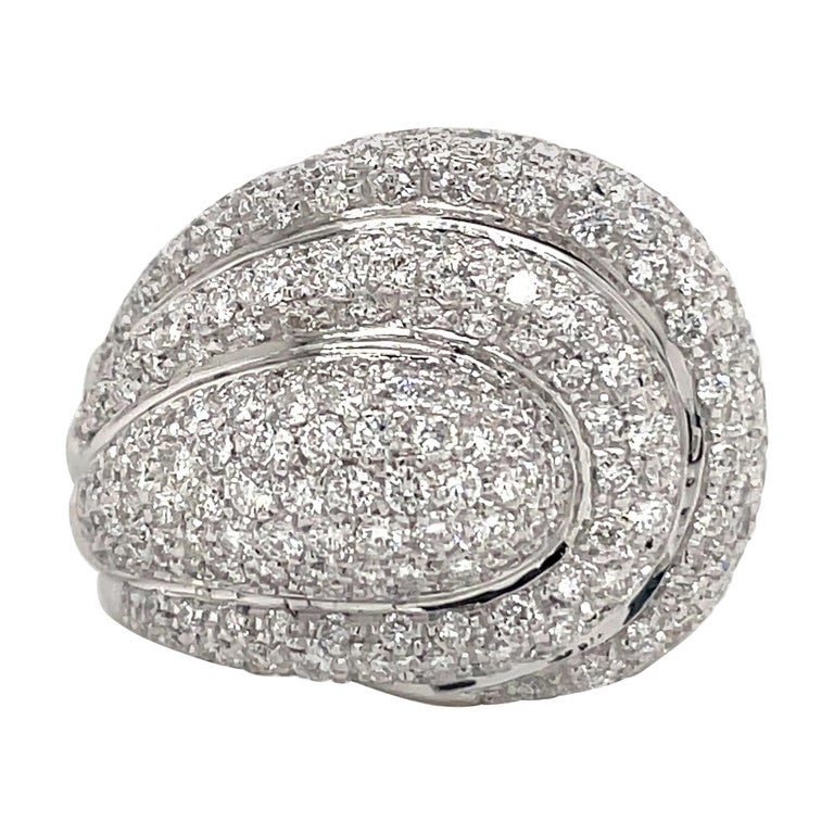 Diamond Dome Cocktail Ring 4 Carat 18 Karat White Gold For Sale