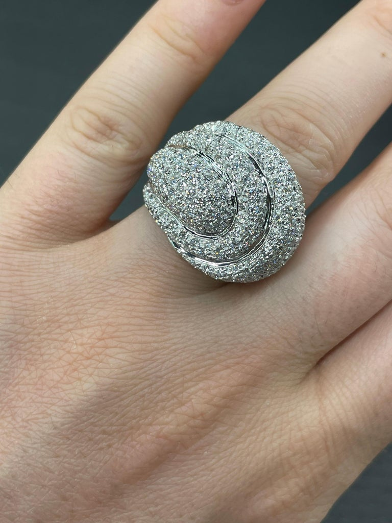 Diamond Dome Cocktail Ring 4 Carat 18 Karat White Gold For Sale 7