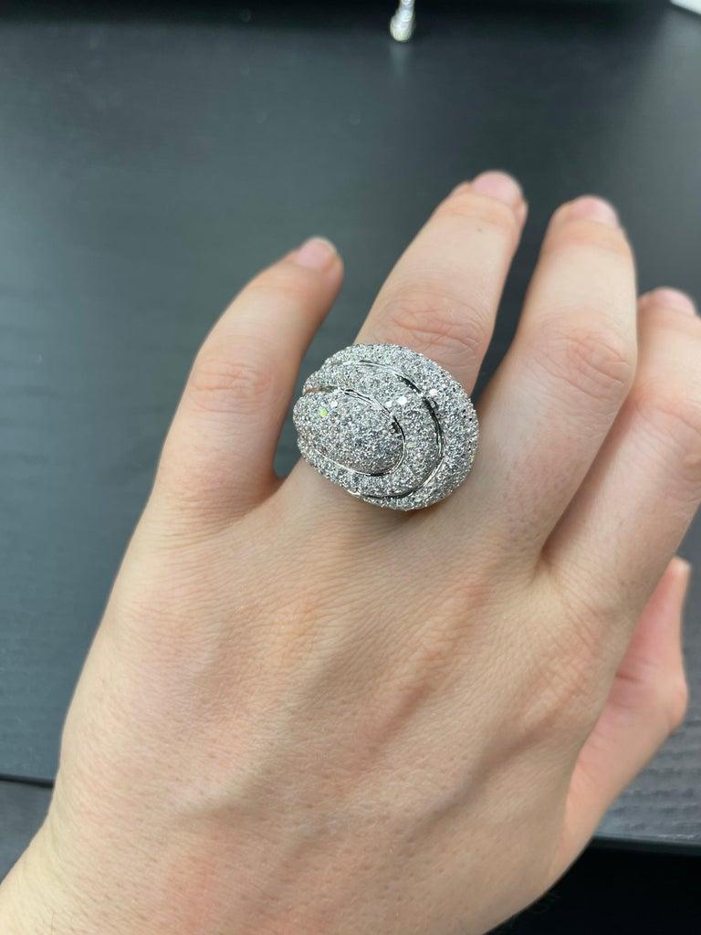 Diamond Dome Cocktail Ring 4 Carat 18 Karat White Gold For Sale 8