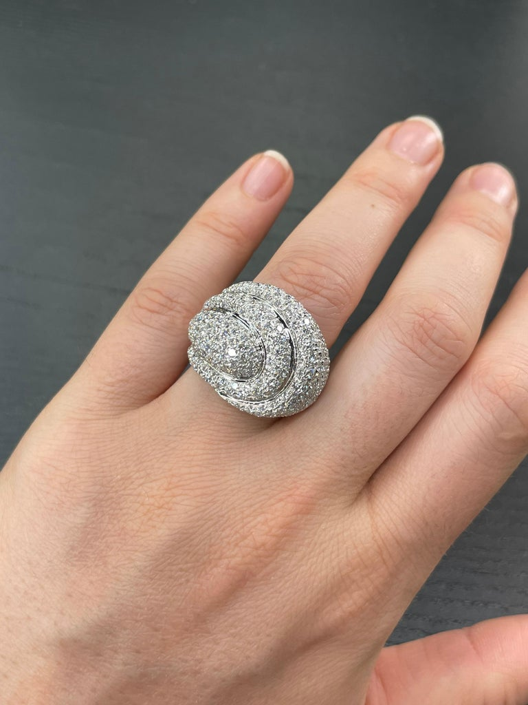 Contemporary Diamond Dome Cocktail Ring 4 Carat 18 Karat White Gold For Sale