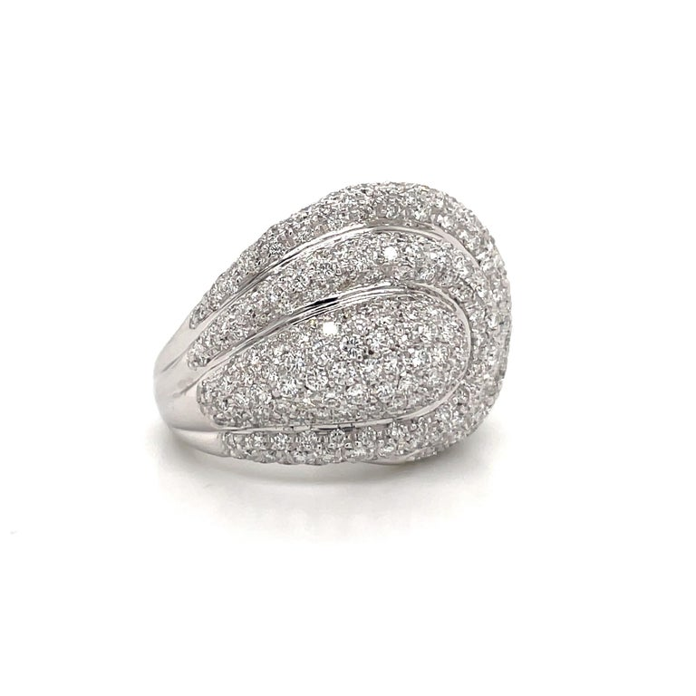 Round Cut Diamond Dome Cocktail Ring 4 Carat 18 Karat White Gold For Sale