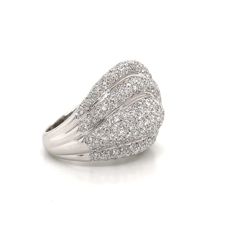 Diamond Dome Cocktail Ring 4 Carat 18 Karat White Gold In New Condition For Sale In New York, NY