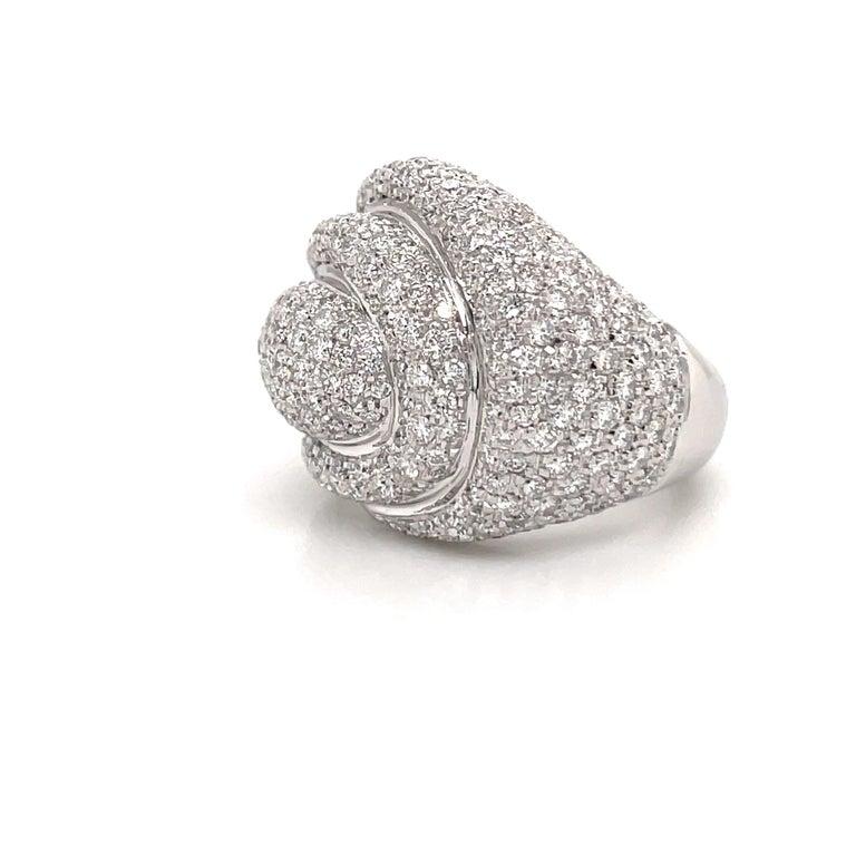 Women's Diamond Dome Cocktail Ring 4 Carat 18 Karat White Gold For Sale