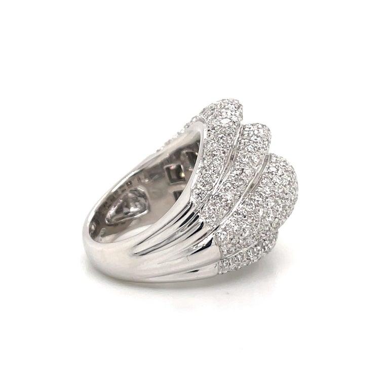Diamond Dome Cocktail Ring 4 Carat 18 Karat White Gold For Sale 1