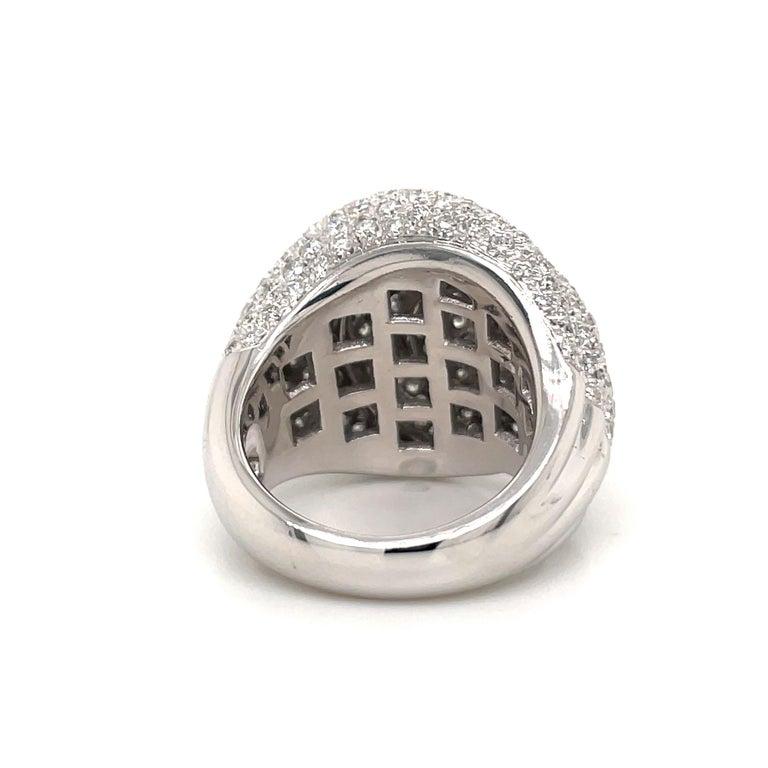 Diamond Dome Cocktail Ring 4 Carat 18 Karat White Gold For Sale 3