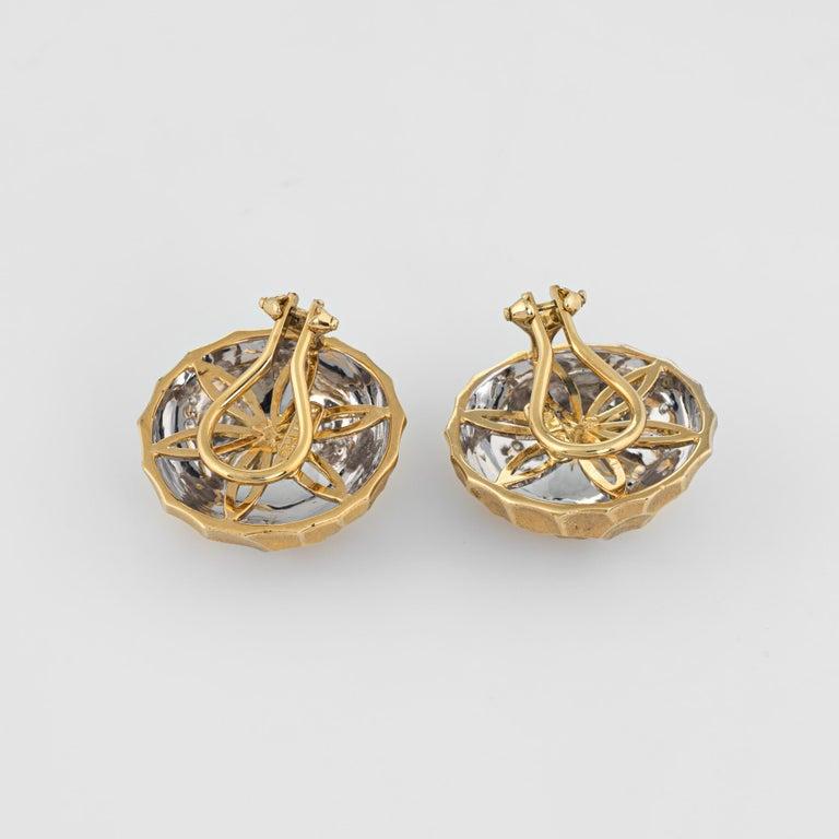 Modern Diamond Dome Honeycomb Clip Earrings Vintage 18 Karat Gold Estate Fine Jewelry For Sale