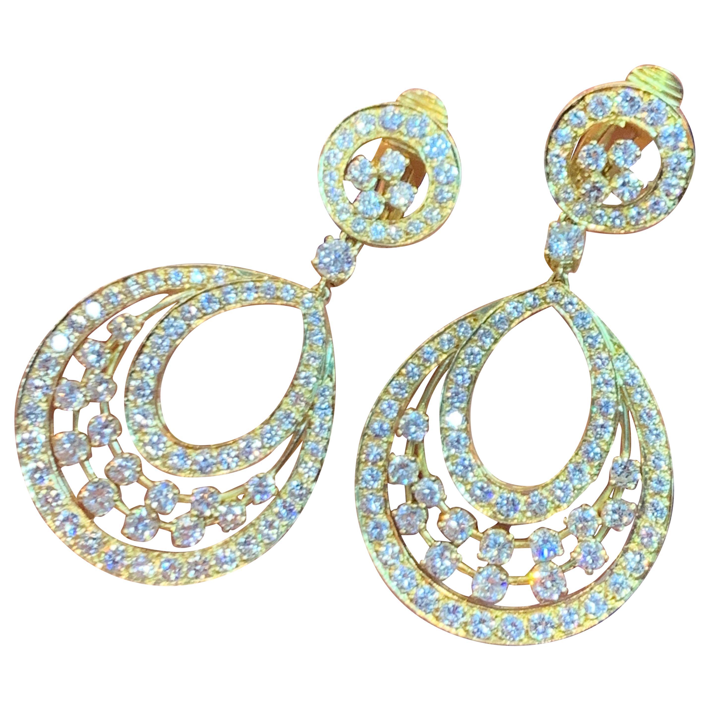 Diamond Door Knocker Dangle Earrings