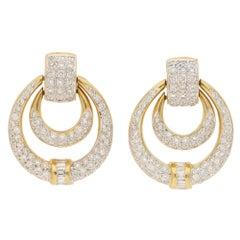 Diamond Door Knocker Drop Earrings Set in 18 Karat White and Yellow Gold