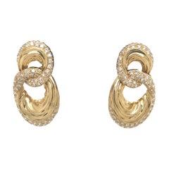 Diamond Door Knocker Earrings 6.92 Carat 18 Karat Yellow Gold