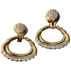 Diamond Door Knocker Earrings