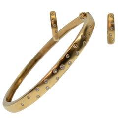 Diamond Dot 14K Yellow Gold Matte Bangle Bracelet with matching Huggie Earrings