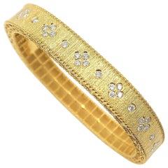 Diamond Dotted Engraved Surface 18 Karat Yellow Gold Bangle in Rectangular Shape