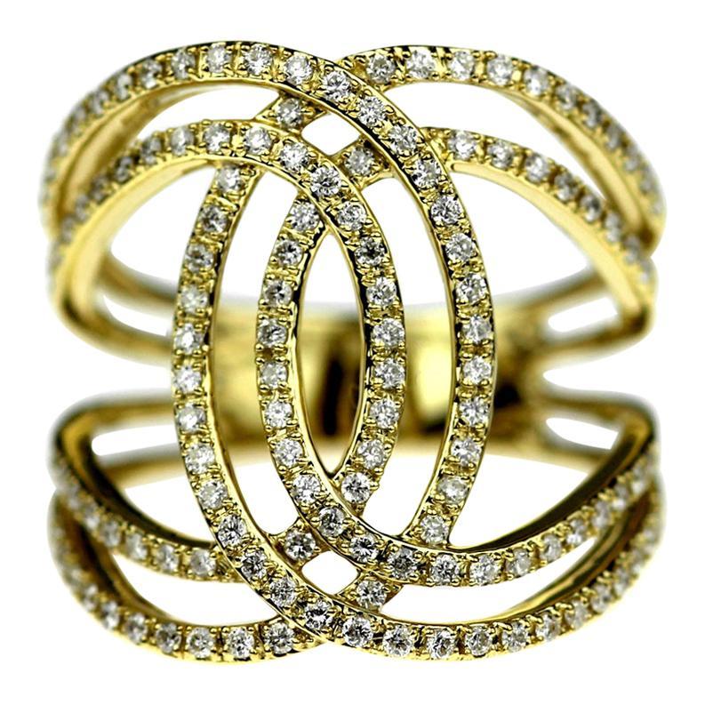 Diamond Double CC Ring in 18 Carat Yellow Gold, Modern Design