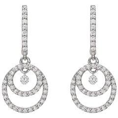 Diamond Double Circle Drop Earrings