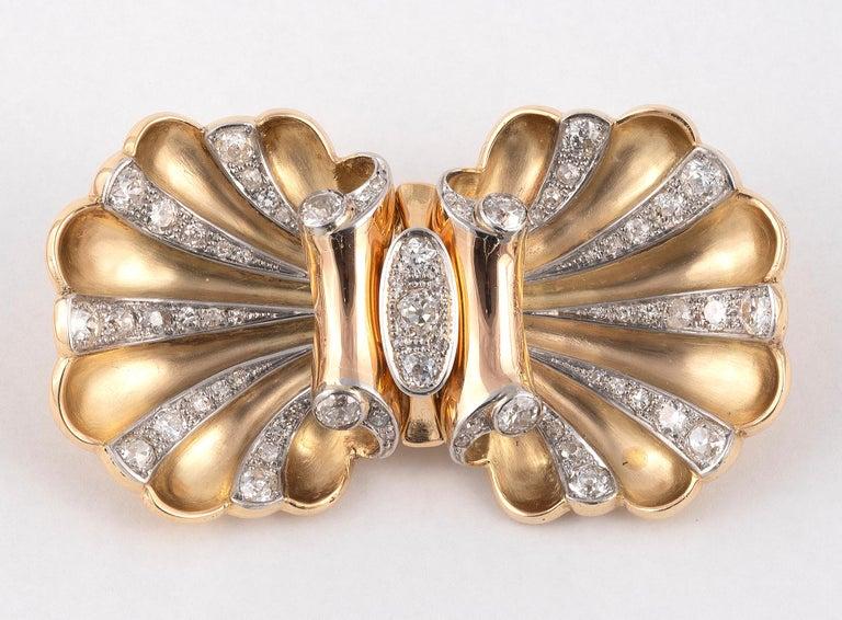 Art Deco Diamond Double-Clip Brooch, circa 1940 For Sale
