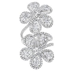 Diamond Double Flower Ring