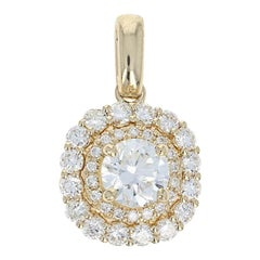 Diamond Double Halo Pendant, 14 Karat Yellow Gold Round Cut .80 Carat