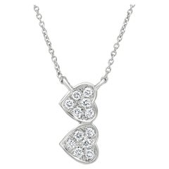 Double Heart Diamond Pendant Necklace in 18k White Gold