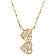 Double Heart Diamond Pendant Necklace in 18k Yellow Gold