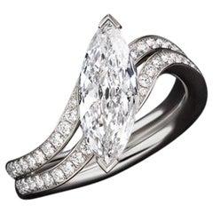 JAG New York Marquise Diamond Platinum Ring